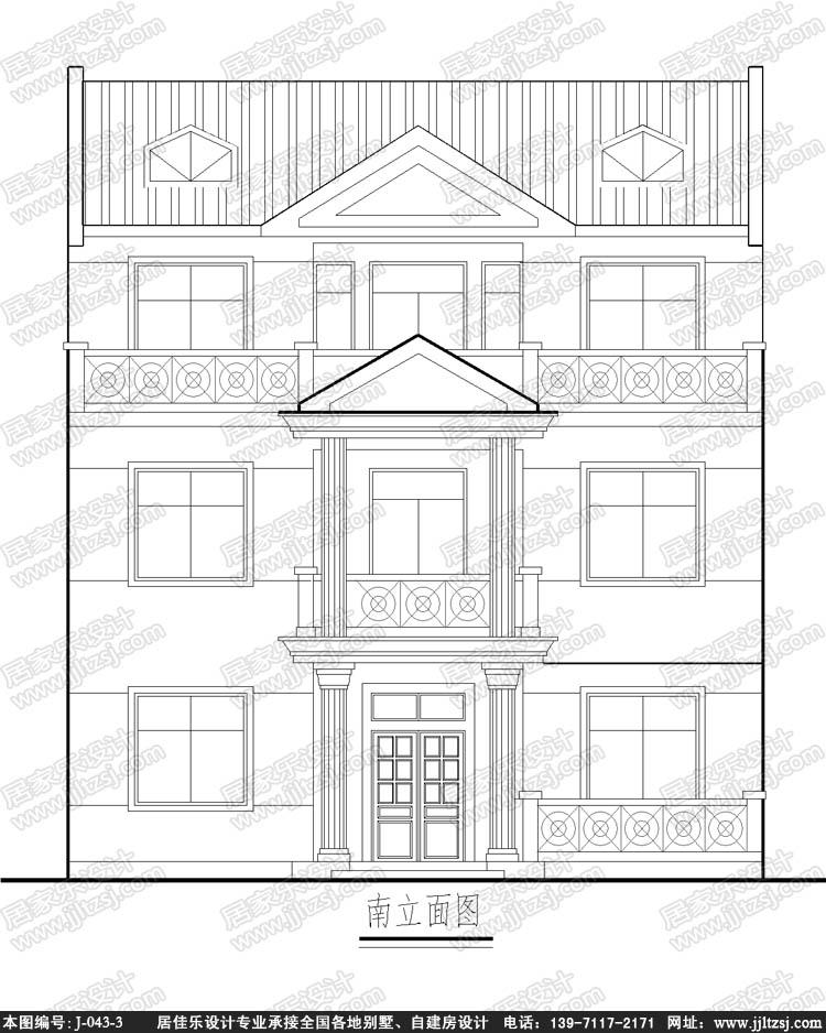 带车库田园风格新农村三层自建房别墅设计施工图,10.9x11.8米,19-25万