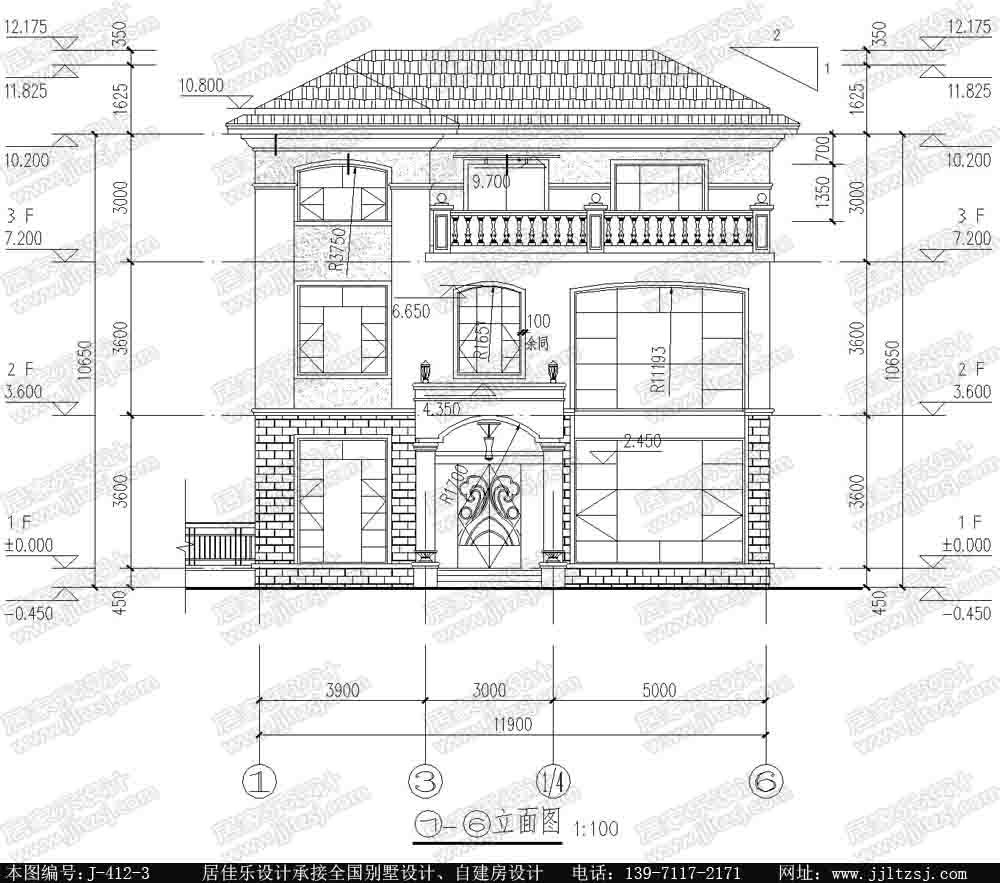 120平方米新农村带露台阳台漂亮3层别墅设计图纸,12.1x9.7,17-23万图片