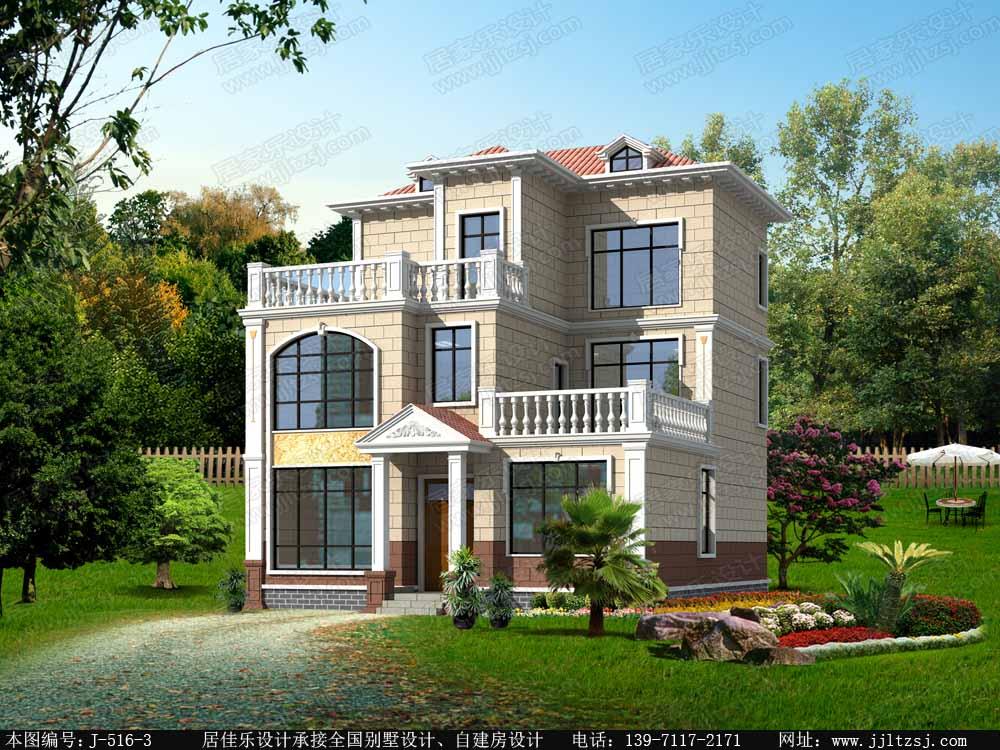 120平米三层房屋设计图,10.24x12.39米,18-24万