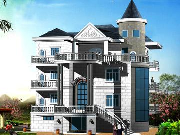 带阁楼新农村三层自建房别墅设计施工图(带车库),16.3x19.7米,60x78万