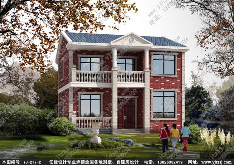 新农村中式带阳台漂亮二层小别墅设计图纸,亿佳农村自建房设计图纸