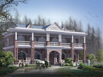 新农村二层自建房欧式别墅施工设计图